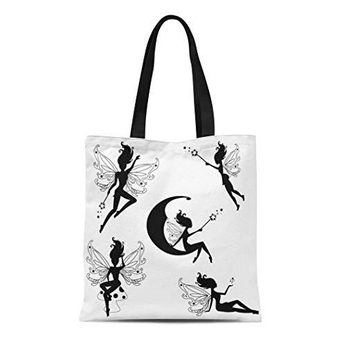 Semtomn Canvas Tote Bag Shoulder Bags Wing Black Fairy Cute Fairies Silhouettes Magic Fairytale Wand Women's Handle Shoulder Tote Shopper Handbag - Fairies Fairy Handbag