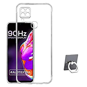 RRTBZ Transparent Soft Silicone TPU Flexible Back Cover Compatible for Infinix Hot 10s with Mobile Ring Holder