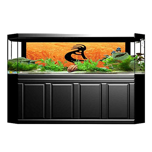 Jiahong Pan Decorative Aquarium Southwestern Style Native Belief Art Orange Black Aquarium Sticker Wallpaper Decoration L35.4 x H15.7