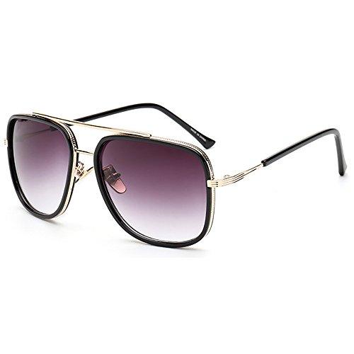 UV400 metal sol Negro Marco Gafas sol de de de Oro Gafas Cuadrado retro Aviator Gafas 6wxqYfzxO