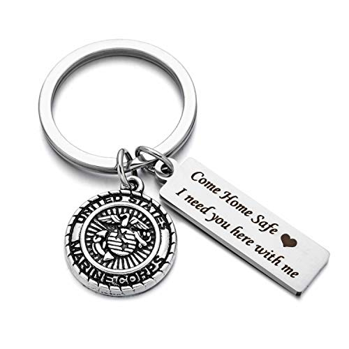 Drive Safe Charms Keychain Come Home Safe I Need You Here With Me Dad Husband Boyfriend Gift Key Ring (marine corps)