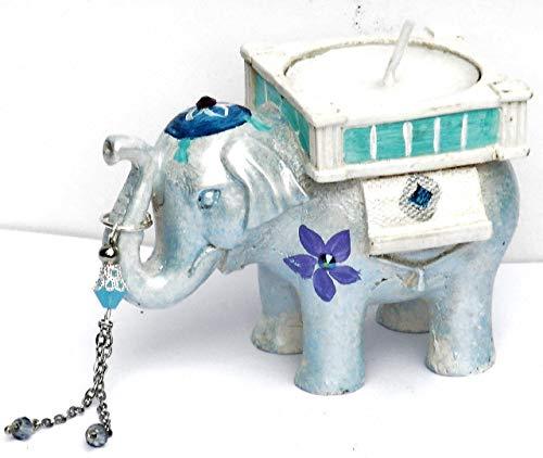 (Hand Painted Blue Boho Elephant Gift Boxed Tea Light Candle Holder Set Bohemian Home Decor Decorations)
