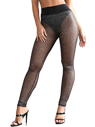 just quella Women's High Waist Sexy Black Mesh Leggings Stretch Skinny Sparkle Sheer Leggings (XXS-XXXL) (XS, Black)