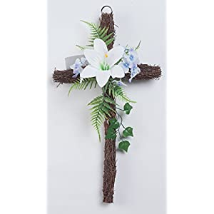 "Fox Valley Traders Grapevine Easter Cross with Flowers, 18"" Long x 10"" Wide 84"