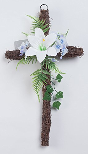 Fox Valley Traders Grapevine Easter Cross with Flowers, 18