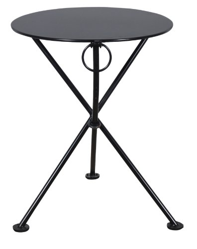 Mobel Designhaus French Café Bistro 3-leg Folding Bistro Table, Jet Black Frame, 28″ Round Metal Top x 29″ Height For Sale
