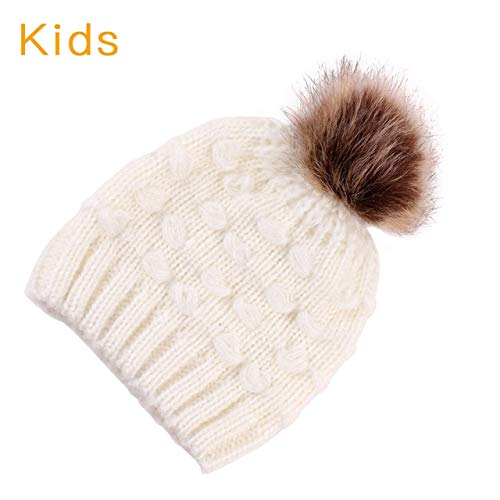 3215de0aa298fc World 2 home Mom and Me Cute Warm Hats Winter Wool Hat Crochet Knit Beanie  Fur Pom Pom Hat Baby Boys Girls Cap Mom and Baby Matching Cap: Amazon.in:  ...
