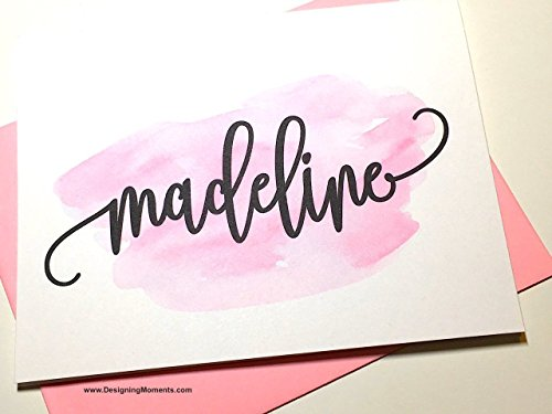 Watercolor Personalized Stationery - Flourish Calligraphy Note Cards - Pink Splatter Stationary DM500