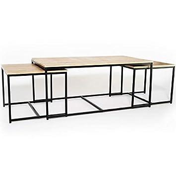 Idmarket Lot De 3 Tables Basses Gigognes Detroit 113 Cm Design