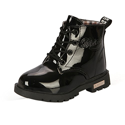 Maxu Fashion Girls Boys Black PU Waterproof Child Martin Boots,Little Kid, 13M US ()