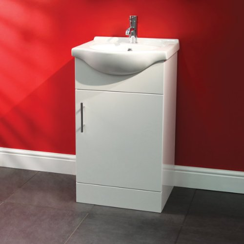 450 Vanity Unit with Basin for Bathroom Ensuite Cloakroom - Soft Closing Compact Modern White Luxury Design - Ceramic Hand Wash Sink - Deep Fill Cupboard Storage in Gloss Finish - includes Internal Shelving (Dimensions ** Sink - Width: 450mm, Projection: