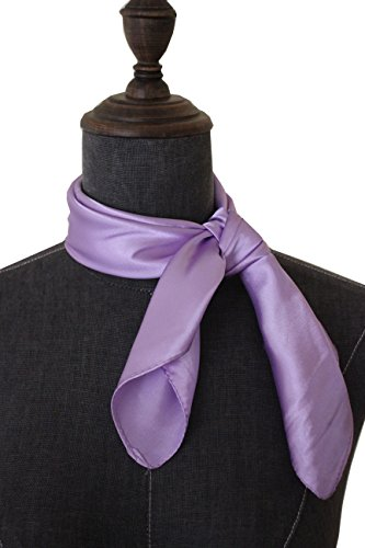 Silk square scarf pure color head scarf blend neckerchief (Lavender Silk Scarf)