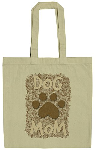 Dog Lovers Dog Mom with Paw Print 15 Inch Canvas Tote Bag