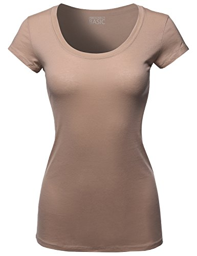 c Cap Sleeves Scoop Neck Tee Choco Brownie Size M (Solid Womens Cap Sleeve T-shirt)