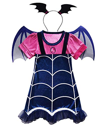LENSEN Tech Girls Vampirina Costume Outfit with Headband Halloween Dress Up (Blue, 6-7Y) ()