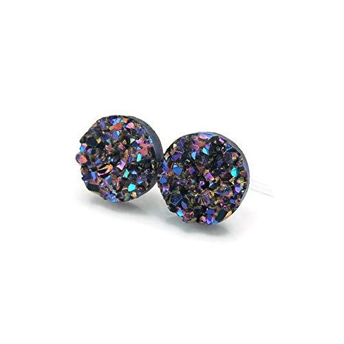 Blue Teal Dainty 8mm Round Faux Druzy Plastic Post Earrings Purple
