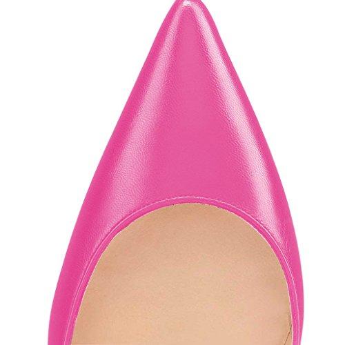 Fsj Femmes Brillantes Couleurs Fraîches Bout Pointu Talons Formelle Robe Pompes Chaussures Taille 4-15 Nous Rose-chaud