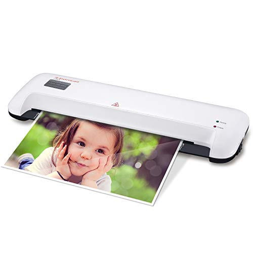 Bonsaii 13-inch Laminator with Quick 3-Minute Warm-up, 300mm/min Speed with 2 Rollers Both Hot and Cold, Max 330mm(A3 Size) Width for Documents, Photos, Cards with Release Switch, White(L309-A)