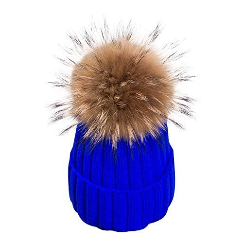 Ron Kite - Gorro de Invierno con pompón de Piel extraíble para Mujer, diseño de Calaveras, Azul Real, Talla única