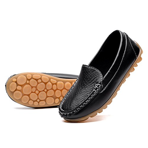 rs Shoes Boys Girls Moccasin Slip On Slippers Boat-Dress Shoes/Sneaker/Flats, Black, 32 (Kids Loafers)