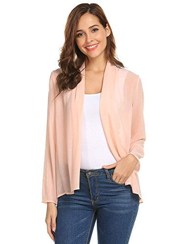 Concep Womens Lightweight Open Cardigan Shrug Long Sleeve Chiffon Sheer Cover Up Nude ()
