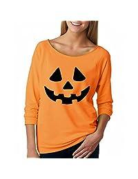 Susenstone Women Halloween Pumpkin Print Long Sleeve Sweatshirt Blouse