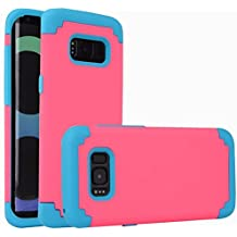 For samsung galaxy s8 Case, iBarbe Protective Dual Layer 2 in 1 Reinforced Flexible Soft rubber Silicone + Hard Plastic PC Shock-Proof Bumper Scratch-Resistant Shell corver (red/blue)