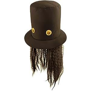 80s Slash Guitar Hero Fancy Dress Hat and Wig (peluca)