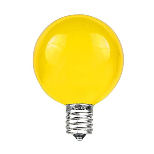 Novelty Lights 25 Pack G40 Outdoor Globe Replacement Bulbs, Yellow, C7/E12 Candelabra Base, 5 Watt