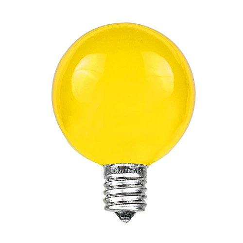 Novelty Lights 25 Pack G40 Outdoor Globe Replacement Bulbs, Yellow, C7/E12 Candelabra Base, 5 Watt