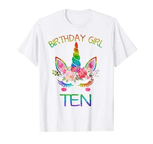 Cute 10 Years Old 10th Birthday Unicorn Girl Shirt, for -