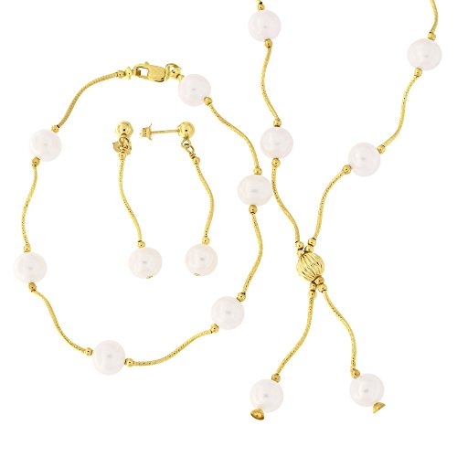 14k Yellow Gold Diamond Cut Freshwater Cultured Pearl Station Necklace, Earrings and Bracelet Set ()