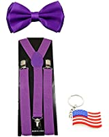 "Suspender & Bowtie ""Purple"" Y-back Clip on Adjustable Free USA Keychain"