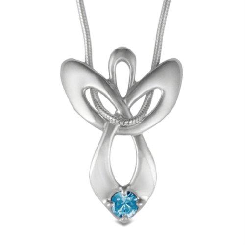 Loving Family Sterling Silver December Swarovski Crystal Guardian Angel Necklace - 16