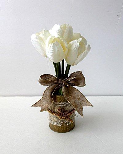 Spring Tulip Floral Arrangement, burlap, floral arrangement, gift for her, Mother's Day gift, home decor, wedding decoration, bridal shower decoration
