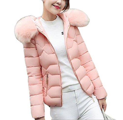 today-UK Women Lightweight Down Jacket Faux Fur Collar Hooded Puffer Winter Coat Pink