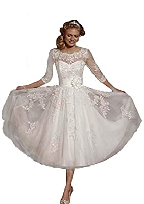 Miya Lace Short Tea Length Wedding Dresses for Bride Formal Gowns with 3/4 Sleeve