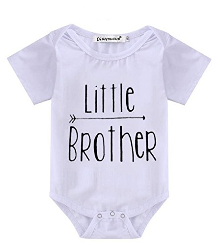 WINZIK Newborn Infant Baby Boys Girls Outfits Big Little Brother Letters Printed Romper Jumpsuit Clothes T-Shirt (0-6 Months, Little Brother)
