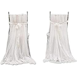 Leegleri 2pcs White Tulle Chair Cover fluffy Tutu Chair Skirt For Bridal Shower, Wedding ,baby shower Decoration Long Tulle High Chair Skirt Slipcovers