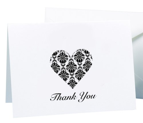 (Hortense B. Hewitt Wedding Accessories White and Black Damask Heart Thank You Cards, 50 Count)