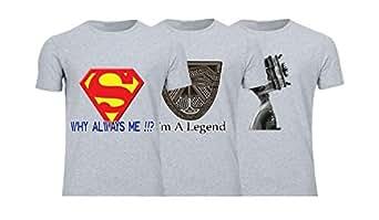 Geek ET1783 Set Of 3 T-Shirt For Men-Grey, Small