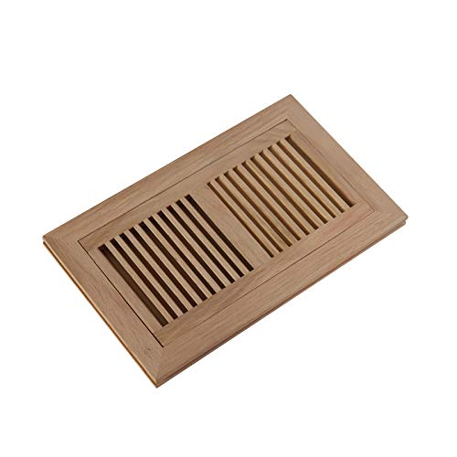 WELLAND 6 Inch x 12 Inch Red Oak Hardwood Vent Floor Register Flush Mount, - 12 Register Inch Wood Floor Vent