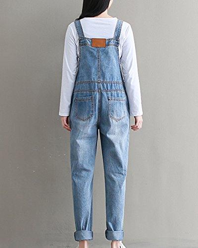 Combinaison Taille Femmes Slim Bleu Haute Clair Poche Jeans Moollyfox Bretelles anZYYH