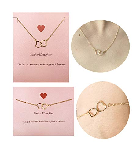 Your Always Charm Mother Daughter Necklace Bracelet,Two Interlocking Infinity Double Circles Jewelry Set (Gold Heart to Heart Necklace and Bracelet) ()