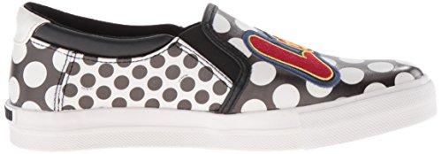Chaussures slip modèle féminin sur Love Moschino imprimé pois blancs peau et noirs à motifs JA 15043
