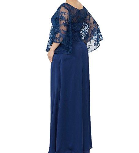 A Blau Ballkleider Abendkleider Langarm Damen Formalkleider Charmant Spitze Linie Festlichkleider Brautmutterkleider Royal 7Pw0xAn