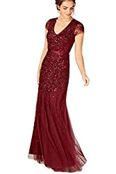 Red Plus-Size Short Sleeve V Neck Beaded Gown