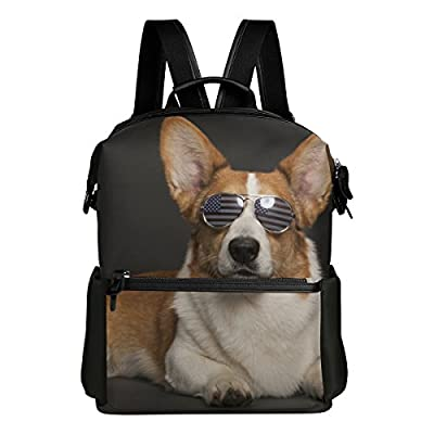 Cool Pembroke Welsh Corgi with Sunglasses Lightweight WaterproofPolyester Large CapacityBackpack Campus Backpack TravelDaypack Grey 70%OFF