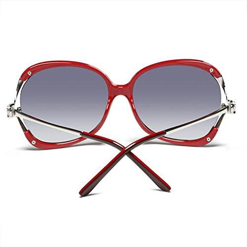 del las sol de Rojo de diamante de huecas sol conducción Caja UVA UVB400 gafas de las luz resina la Cara Color Drive de de WLHW de gafas Leopard redonda polarizada femenina AYFw88Hq
