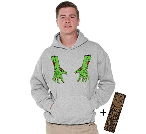 Halloween Hoodie Bloody Zombie Costume Dead Hands Hooded Sweatshirt + Bookmark 5XL (Walking Dead Couples Costumes)